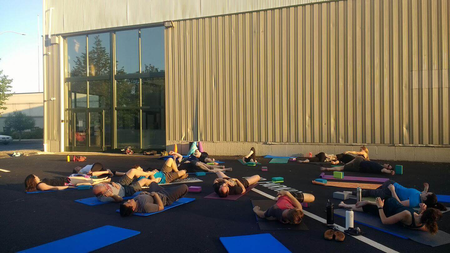 Yoga outside on a beautiful day.
