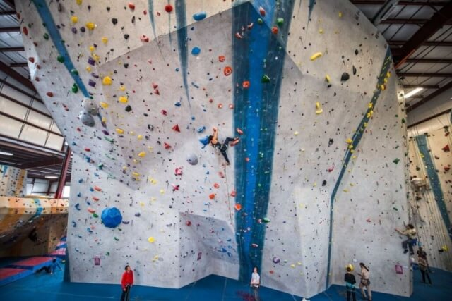 The lead climbing wall at Central Rock Gym Watertown