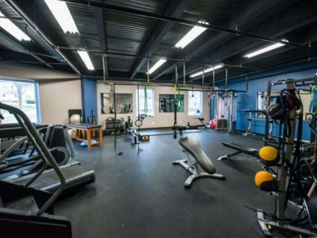 The fitness room at Central Rock Gym Watertown