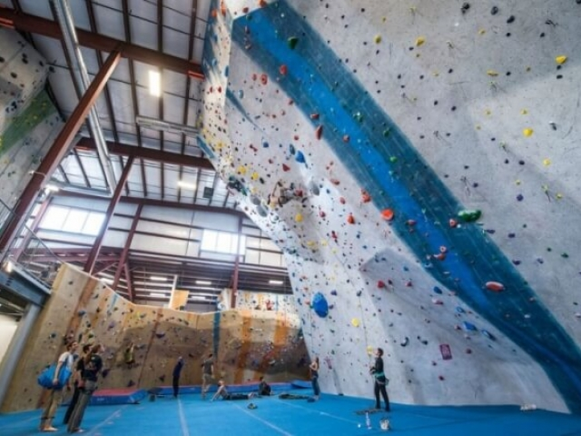 The lead climbing area at Central Rock Gym Watertown