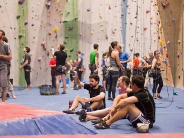 Top roping and bouldering at Central Rock Gym Watertown