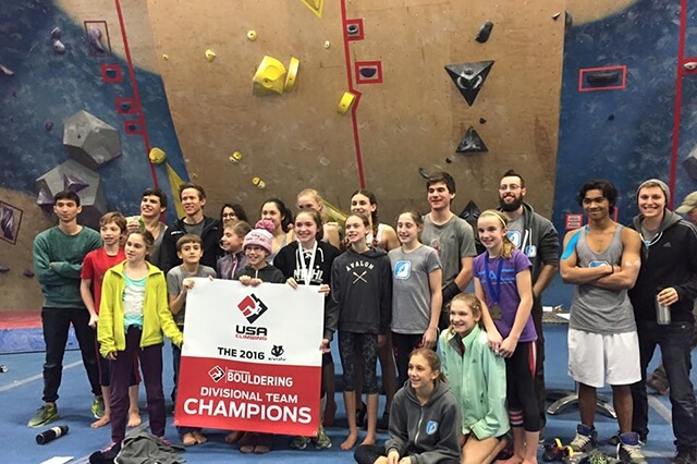 CRG Watertown youth team at 2016 Bouldering Championships