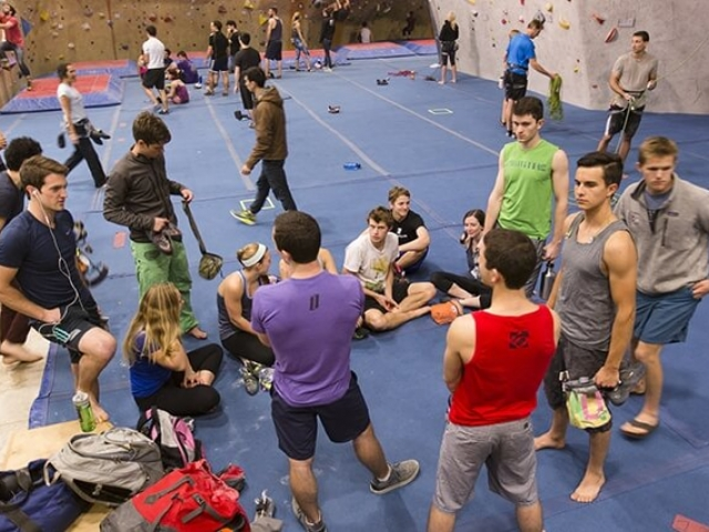 The climbing community at Central Rock Gym Watertown