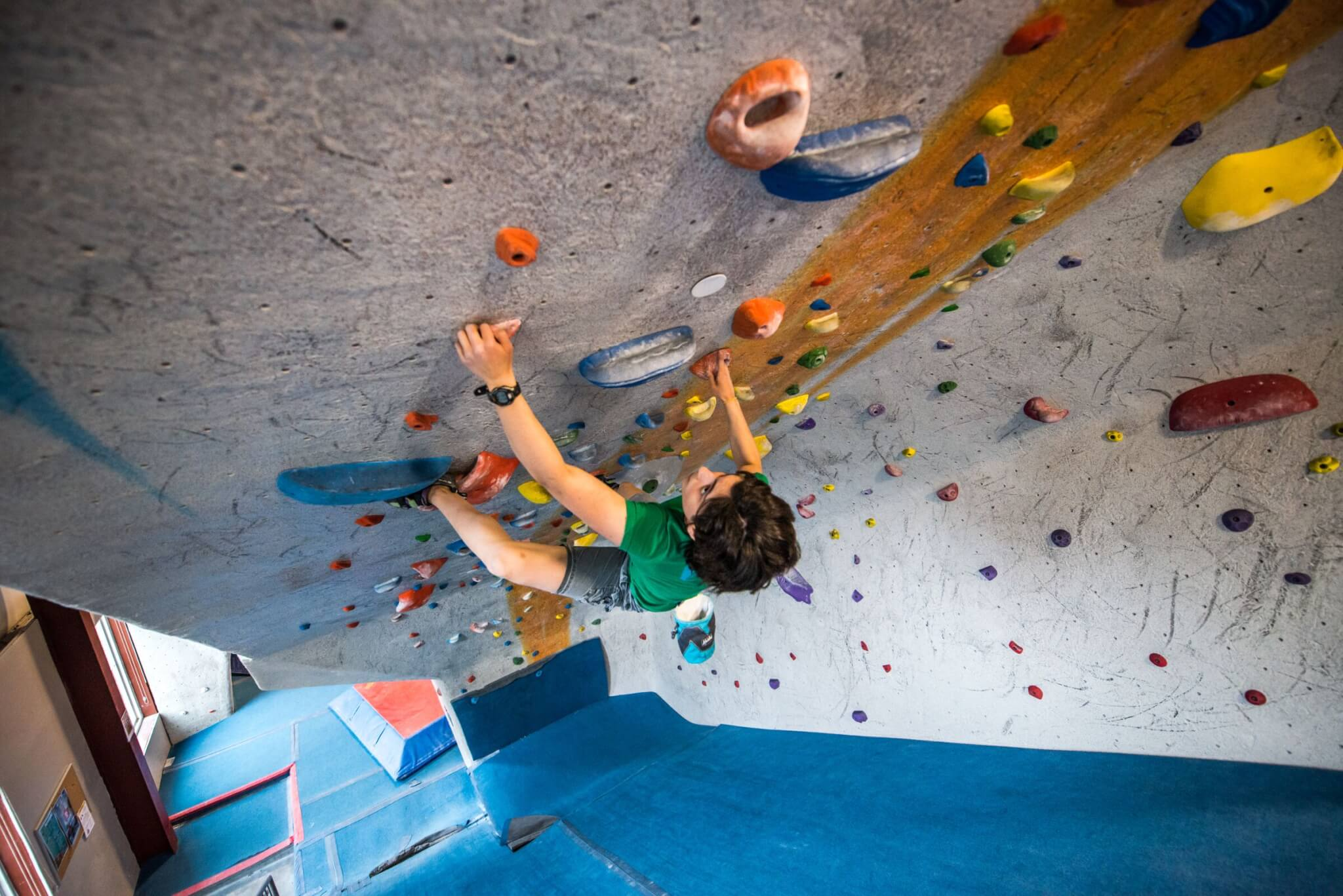 The bouldering ramp, the wave, at Central Rock Gym Watertown
