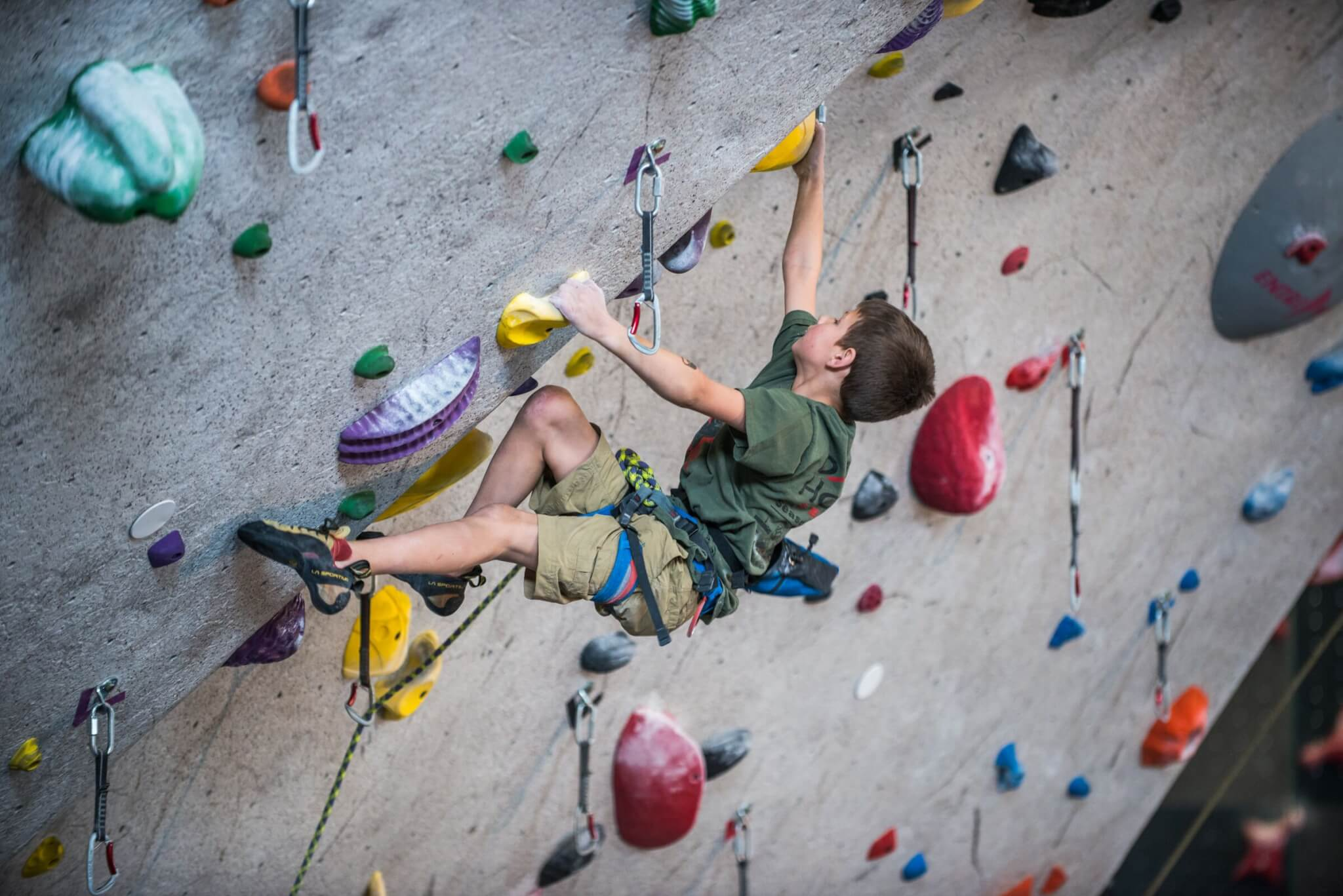 Lead Climbing at Central Rock Gym Watertown